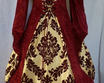 Custom made to size hooded medieval gown pagan costume goth Renaissance wedding dress Fantasy gown