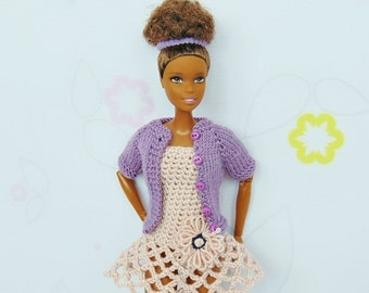 Barbie sweater, barbie cardigan, barbie knitted, barbie clothes, doll sweater, doll cardigan, knitted clothes, lilac, fashion royalty