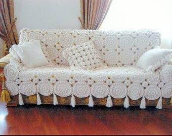 Crochet blanket tassel beige hand crochet throw white set blanket pillow crochet bedding textured blanket beige throw blanket boho blanket