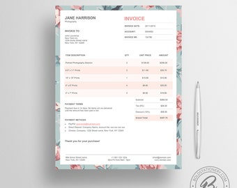 Invoice Template 02 - Photography Invoice - Receipt Template - Invoice Template for Microsoft Word - Business Invoice