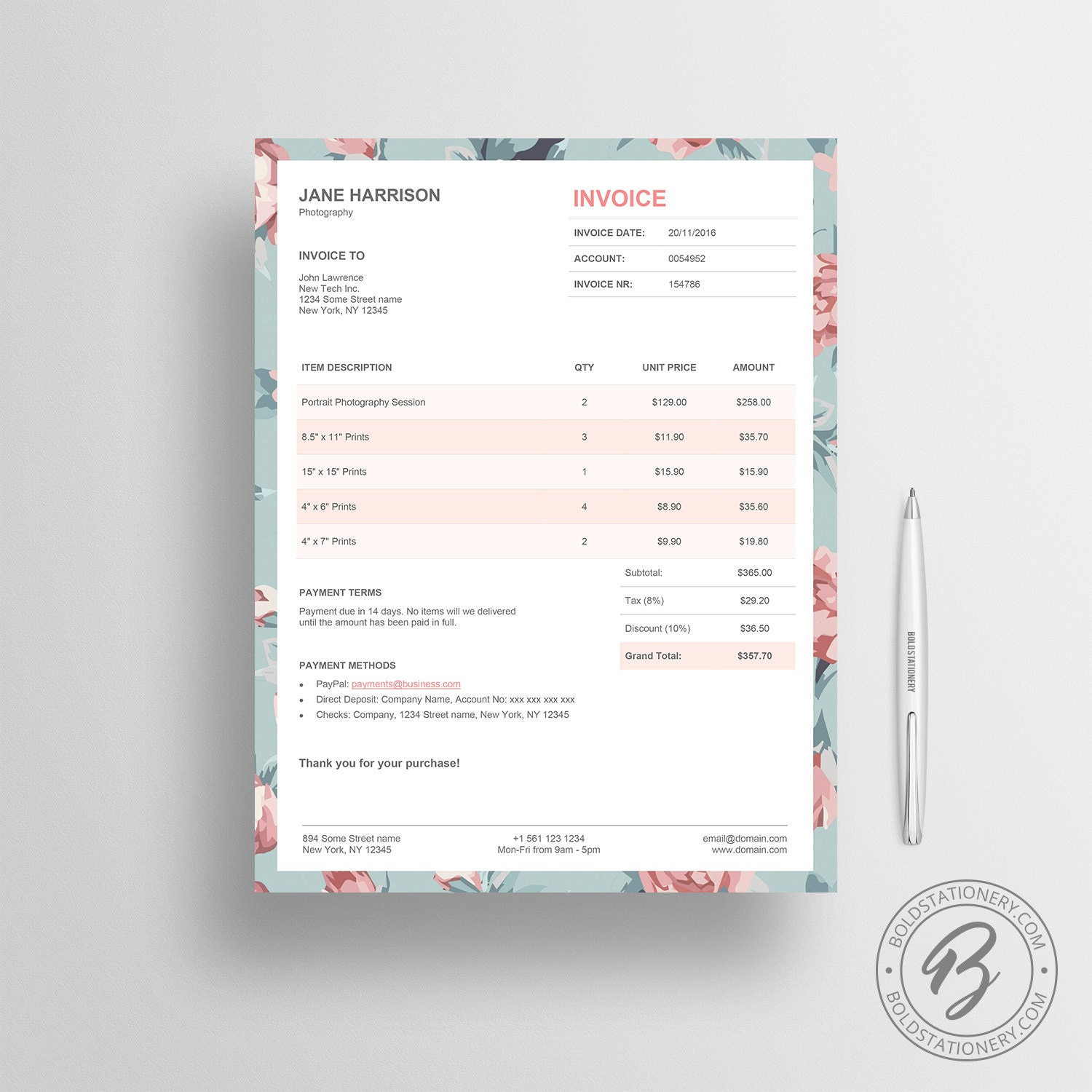 invoice template 02 photography invoice receipt template. Black Bedroom Furniture Sets. Home Design Ideas
