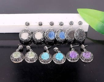 5Pair Pave Rhinestone Mixed Color Quartz Stone Round Shape Earrings Charms Jewelry Finding