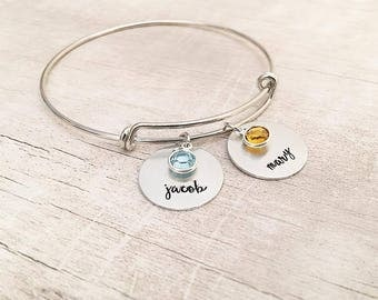 Birthstone Bracelet for Mom - Mom Gift - Mom Bracelet with Kids Names - Birthstone Bracelet - Personalized Bangle Bracelet