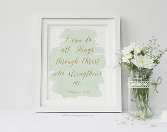 I can do all things... Philippians 4:13, Bible Verse, Christian Wall Art, Nursery Wall Art, Kids Room Decor, Gift Ideas, Christmas, DT70