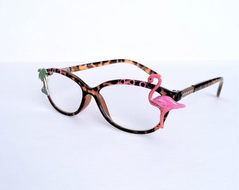Pink Flamingo Reading Glasses +3.50, Painted reading glasses, painted readers