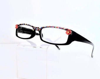 Women Reader Glasses with Red flower and a colorful fun frame, Reading glasses +3.25