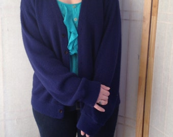 Sweater Cardigan Navy Blue Men's LARGE 50s 60s 70s Vintage Cardigan