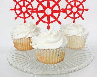Ship Wheel Nautical Cupcake Toppers - Ahoy - Birthday Party - Bridal Shower - Baby Shower - Rehearsal Dinner - Anchor - Red - Ship - Ocean
