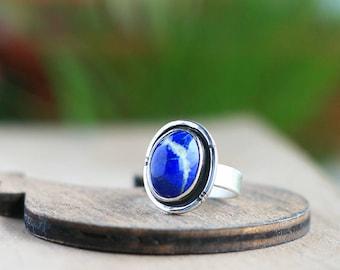 Lapis lazuli ring, 925 Sterling Silver Ring, Blue Stone Ring, Gemstone Ring, Lapis Lazuli jewelry, Gift Ideas