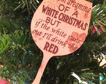 White Christmas Leather Wine Ornament