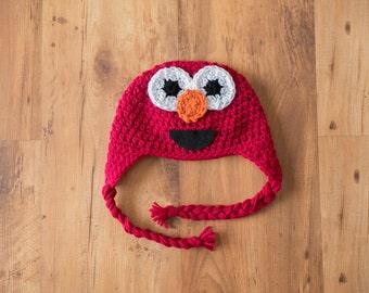 Elmo Hat, Crochet Elmo Hat, Crochet Elmo Beanie, Sesame Street Elmo Hat, Sesame Street Hat, Elmo, Elmo Crochet, Elmo Crochet Hat