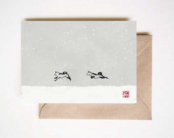 Shiba inu in snowy day - Unique Sumi ink Painting Card