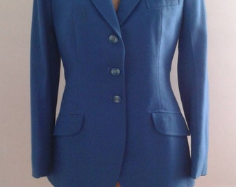 Vintage 1950's Blue Equestrian Riding Jacket Blazer Black Velvet Collar Sz XS Small Traditional WASP Preppy