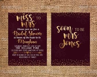 Maroon Gold Bridal Shower Invitation, Glitter Invitation,  Wine Red Burgundy Classic Invitation- Printable Download