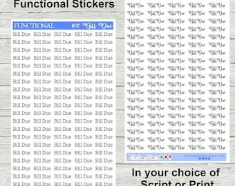 Bill Due   100 Planner Stickers
