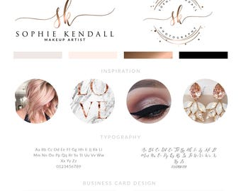 Makeup Logo Design, Lashes Logo Design, Rose gold Branding kit, Makeup Rose Gold makeup Branding Package, stamp,  Photography Logo watermark