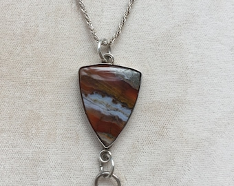 """Sterling Pendant with Multi-colored Agate Stone on 16"""""""