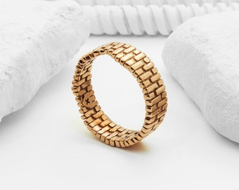 Brick Arch Ring (Brass, Bronze 3D Printed Architecture Ring)