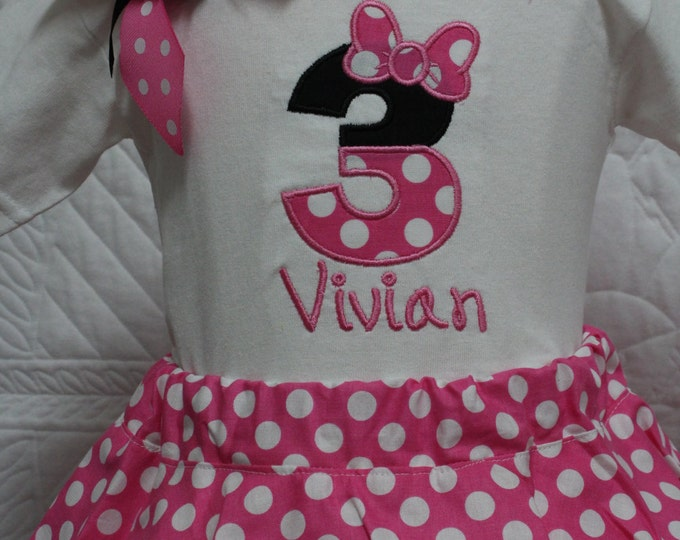 Girls 3rd birthday outfit,Minnie Mouse inspired girl third birthday,Disney birthday,Hot pink and white polka dot twirl skirt,Personalized