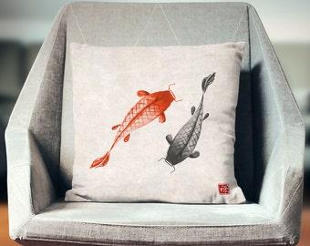 Japan Pillow | Oriental Pillow  | Koi Pillow | Koi Carps | Asian Pillow |   Fish Pillow | Japanese Decor | Asian Print | Japanese Art