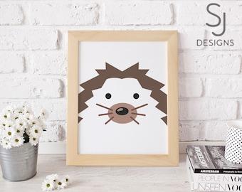 Printable art, Hedge Hog print, Cute Hedge Hog print, Nursery decor, Nursery art print, Hedge Hog wall art, K