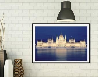 Budapest Photo Print, Budapest Parliament House, Travel Photography, Hungarian Art, Hungary Photography, Urban Landscape, Night Light, Art