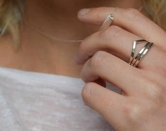 Chevron Stacking Ring - Hammered Wishbone Stacking Ring - Silver Chevron - Stacking rings - Silver Wishbone Ring