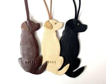 Labrador Ornament Leather Personalised Hanging Labrador Decoration, Labrador Retriever Gift Sympathy Keepsake