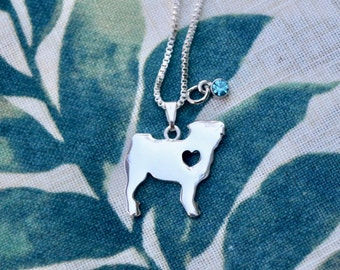 Pug Necklace - Silver Plated || Engraving & Charm || Silhouette Memorial Custom For Her || Rescue Dog || Supports Non-Profit