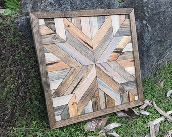 Rustic Geometric Wood Quilt Pattern Wall Art - Medium