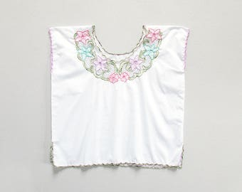 vintage cutwork blouse / bali cut out shirt  / white boxy short sleeve top / womens L