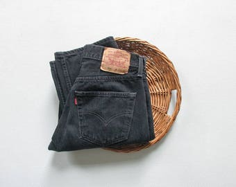 vintage black levis 501 jeans / 30 x 31 / 90s levis button fly jeans / high waisted denim / made in usa