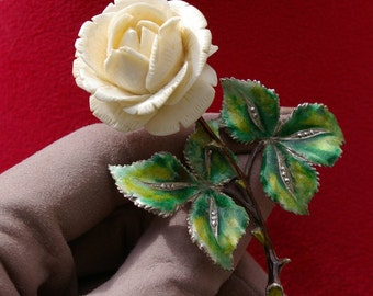 Brooch Flower, Rose, bone, enameled silver and marcasite, 20 years, Germany, naturalist brooch, free delivery