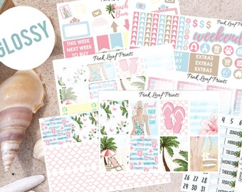 GLOSSY | Beach Bum | Weekly Planner Sticker Kit