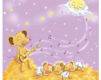 Blade children. Illustration mice. Illustration starry night. A4 sheet. Digital illustration. Child decor