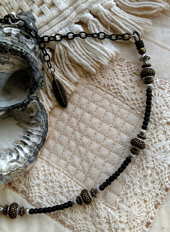 Tribal Beaded Necklace Black Chain Bronze Beads Tibetan Silver Beads Bronze Feather Black Glass Beads Black Rubber Rings