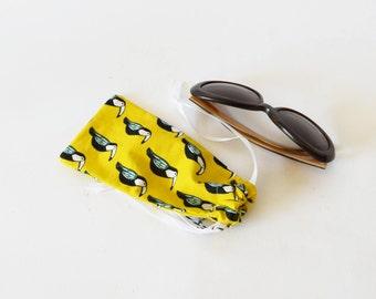 Yellow soft glasses case, toucan, bird prints, eyeglasses case, sun glasses case, little gift, yellow , soft case, drawstring bag, christmas