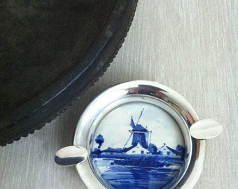 Delfts 1940's Vintage Hand Painted Delfts Ashtray, Delfts, Windmill, Blue and White, Dutch Delftware Ashtray, Delft Blue, Made in Holland