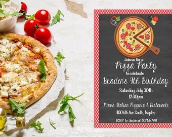 pizza party invitation pizza birthday party invite pizza invitation pizza birthday invitation - Pizza Party Invitation