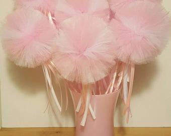 Princess Party Wand Favor Fairy Tulle Pom decoration Birthday dress up centerpiece pink girl vase halloween costume flower bouquet wedding