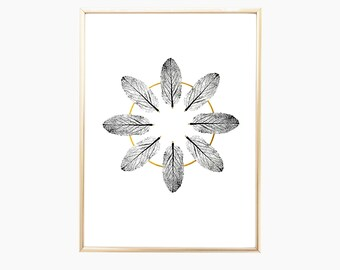 """Home Decor, House Warming Gift, Wall Art, Nature, Home Decoration, Nature Prints, Gold Print, Modern Art, Plant Print, Home Gift, 9"""" x 12"""""""