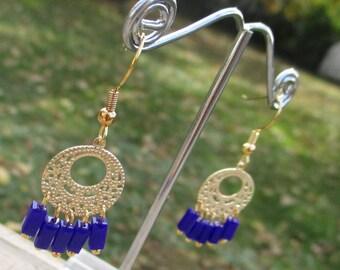 Boho Egyptian Blue and Gold Dangle Nickle Free Earrings