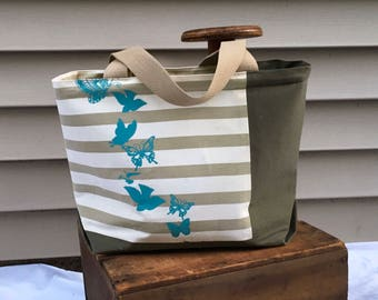 Reclaimed Teal Butterfly Canvas Tote Bag, Market Tote, Beige & Olive Striped Tote Bag