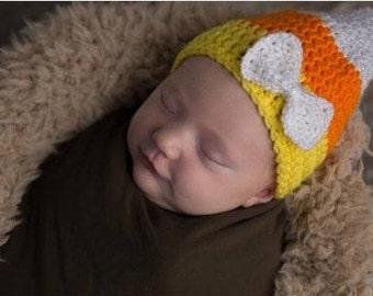 Baby Candy Corn Hat, October Newborn Hat, Halloween Baby Hat, First Halloween, Newborn Halloween, Halloween Costume, Crochet Candy Corn