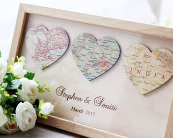 3 Personalized Map Heart Art Newlywed Gift Heart Map Print Romantic Gift Engagement Gift idea Map Wall Art Framed Wedding Art Custom Map Art