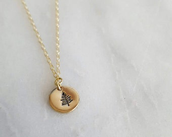 Gold Filled Mini Evergreen Necklace | Nature Jewelry | Hand Stamped Jewelry | Tree Necklace | Forest Jewelry | Hiking Necklace | Wilderness