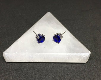Sterling Silver Created Blue Sapphire 7mm Round Stud Earrings