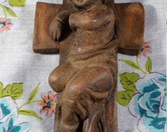 Hand Carved Wooden  Cross with Infant Jesus.