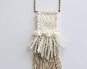 Woven necklace, neutral colors (ivory and beige), cotton, gold brass chain // textile necklace // long pendant // long chain