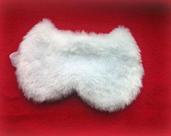 White Furry Cat sleep mask - Cute Fluffy Fur kitty eye mask - Pj party favor - Travel mask - fluffy blindfold - Slumber party eye mask